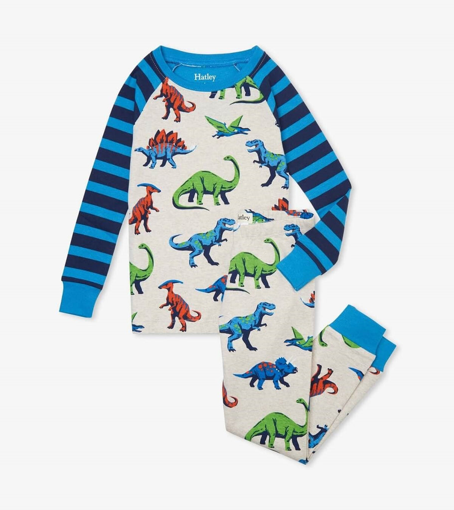 Hatley's long dinosaur PJ set. Light grey set with blue and navy stripped sleeves, and blue cuffs. The pattern consists of many colorful dinosaurs.