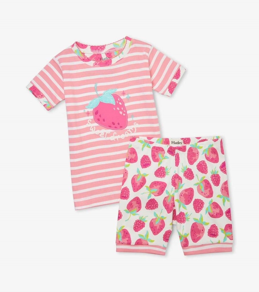 "Hatley's delicious berries PJ Set. The top is stripped pink and white with a strawberry. It says, ""Sweet Dreams"" and has berry pattern cuffs. The bottoms are white with a strawberry pattern and the cuffs are while and pink stripes."