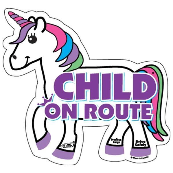 ON ROUTE CHILD CAR MAGNET - UNICORN