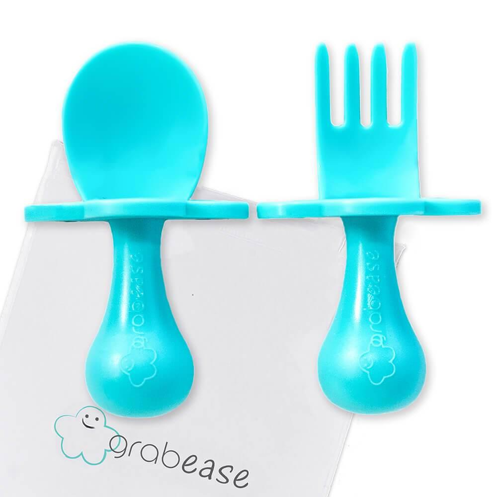 GRABEASE FORK & SPOON SET - TEAL | Jump! The BABY Store