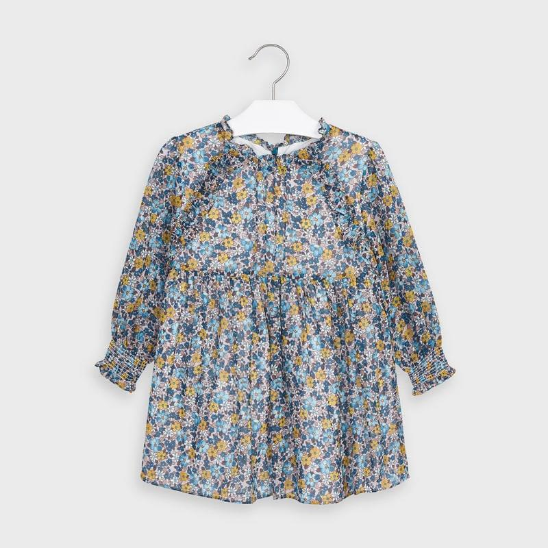 Mayoral Floral Chiffon Dress for Girl - Teal/Yellow