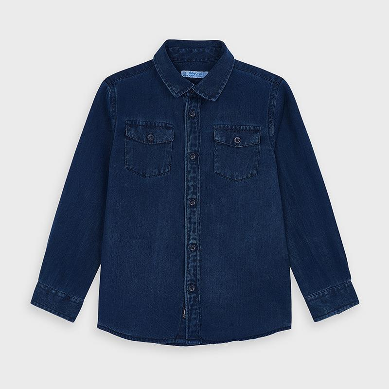 Mayoral Long Sleeved Denim Shirt for Boy