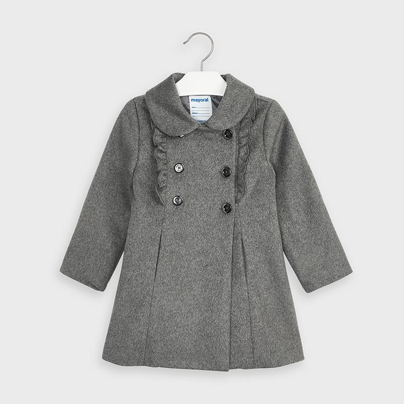 Mayoral Ruffled Dress Coat for Girl - Grey