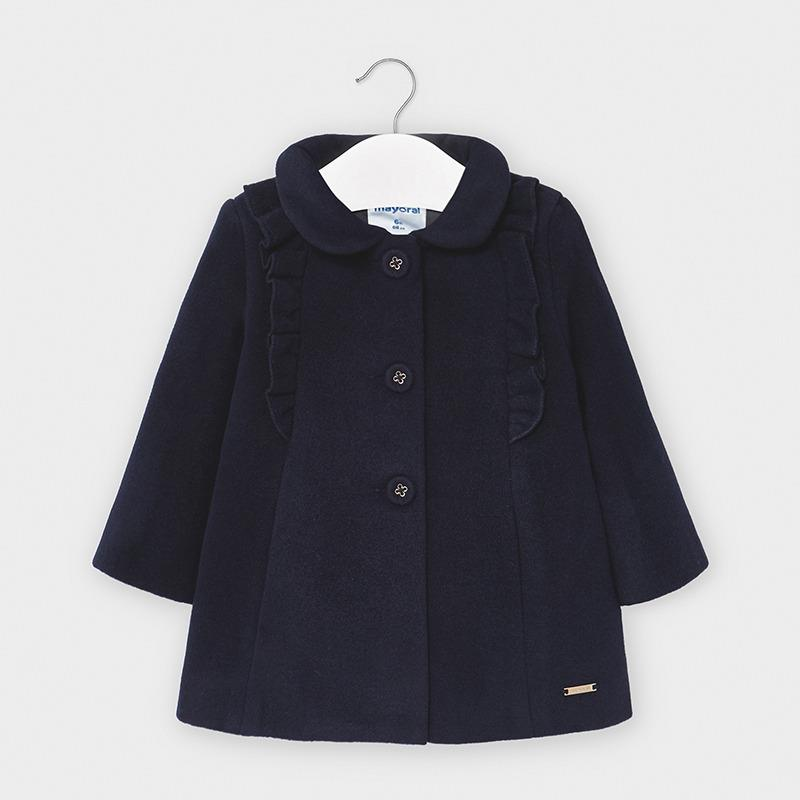 Mayoral Cloth Coat with Ruffles for Baby Girl - Navy