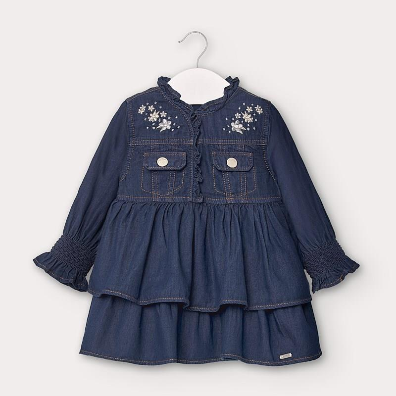 Mayoral Denim Dress with Ruffles for Baby Girl