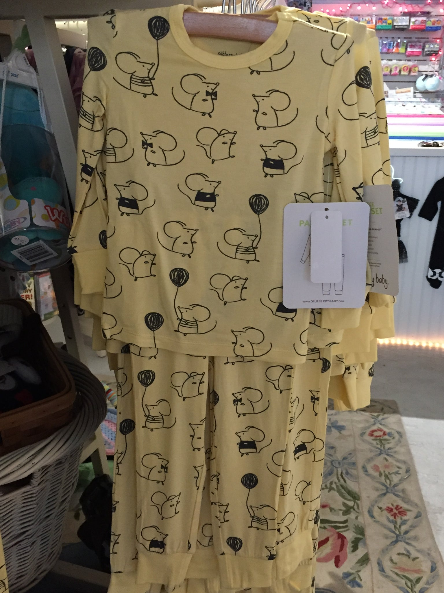 21fcf08f8 Bamboo Infant Footie Sleeper   Children s PJ s (Yellow Mouse Print ...