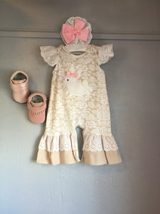 "Infant ""White Bunny"" Romper w/Headband"