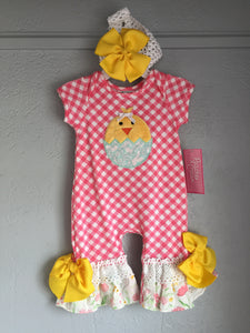 "Infant ""Yellow Chick"" Girls Romper w/ headband"