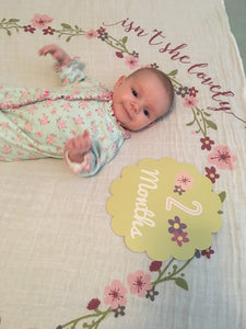 Baby's First Year Muslin Blanket w/Milestone Cards