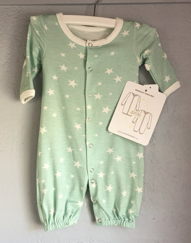 Bamboo Newborn Converter Gown  & Children's 2 pc. Empire Dress PJ (Star Print / Stardust) by Silkberry Baby