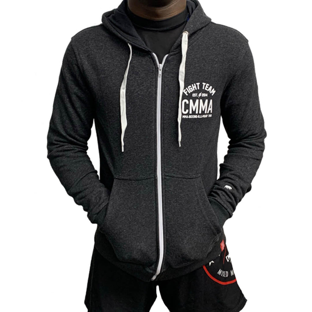 Fight Team Zip-up Hoodie Grey