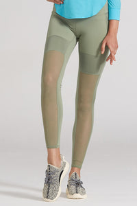 grass green workout pants with mesh combo