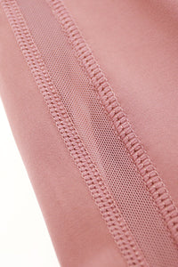 light & leaf Basic High Waist Polyester Yoga Pants Mesh Detail