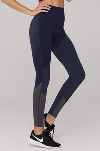 High Waist Nylon Navy Yoga Pants