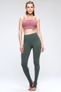 fashionable yoga set over the heel leggings in green