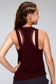 Dual Layer Mesh Opening Sleeveless Top Back