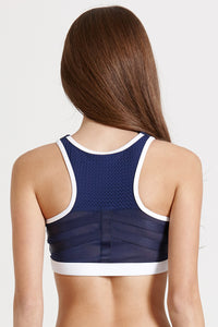 zipper sports bra with mesh