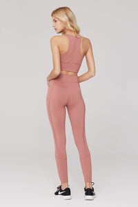 light & leaf Basic High Waist Polyester Yoga Pants Pink
