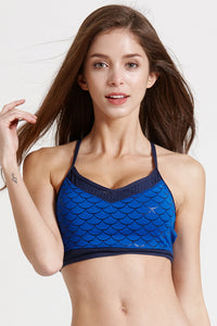 Activewear Mesh Sports Bra Nylon Padded Strappy for Yoga Workout Fitness