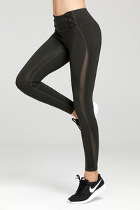 See-through Linear Mesh Combo Workout Leggings