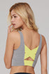 Women's O Neck Color Contrast X Back Sports Bra