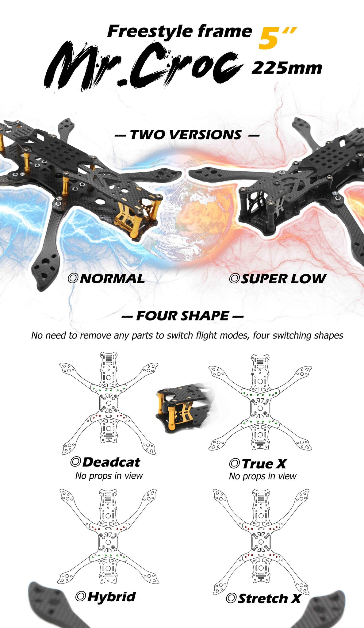 FLYWOO Mr.Croc 225mm 5 Inch FPV FreeStyle Racing Frame Kit 5mm Arm