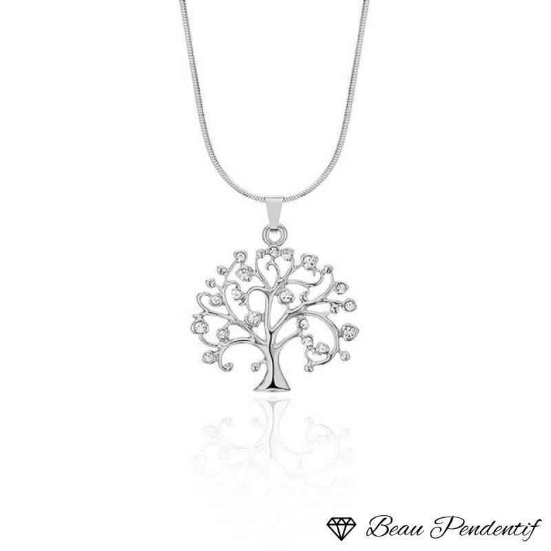 Mgfam Tree Of Life Pendant Necklace For Women Small 48 Cm Snake Chain Fashion Accessory Crystal 3 Gold Color Choice Argent / 43 With 5
