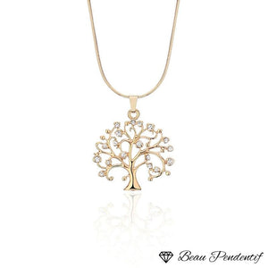 Mgfam Tree Of Life Pendant Necklace For Women Small 48 Cm Snake Chain Fashion Accessory Crystal 3 Gold Color Choice Or / 43 With 5