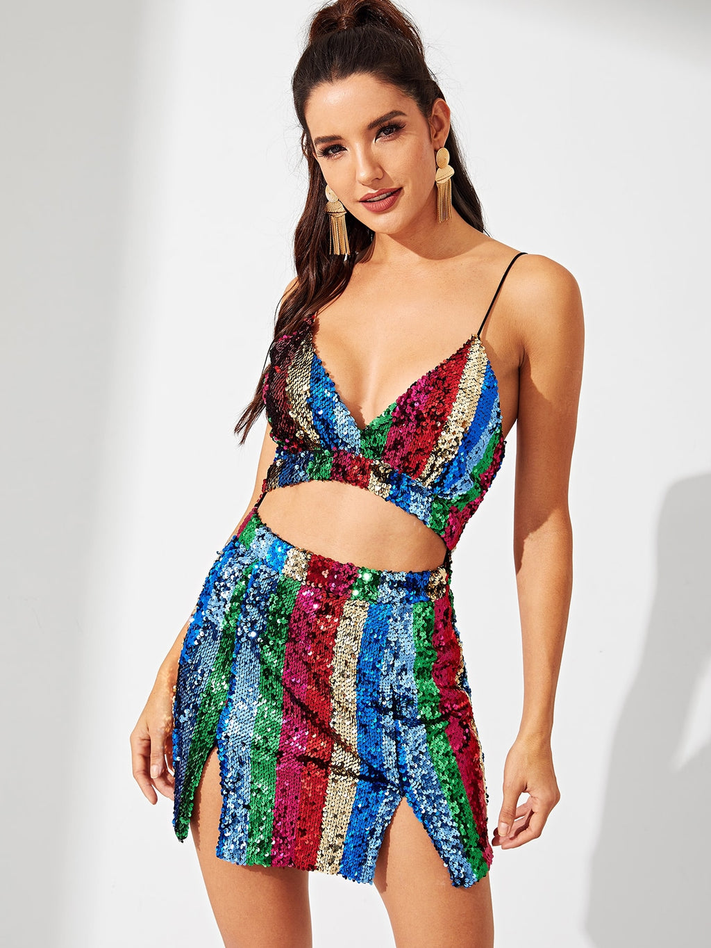 Open Front Sequin Cami Dress