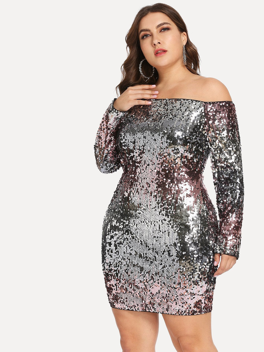 Plus Slim Fitted Bardot Sequin Dress