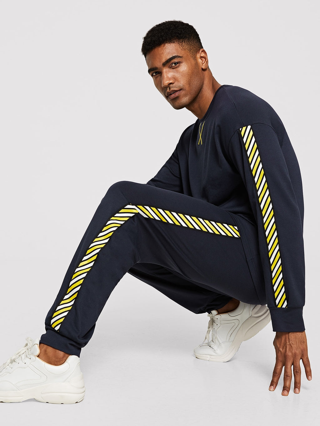 Men Striped Tape Detail Pullover & Track Pants Set