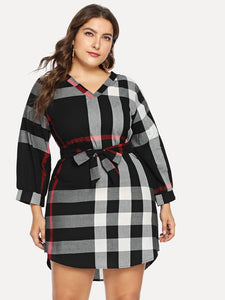 Plus Self Tie Plaid Dress