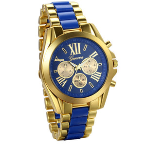 Mens Watches Gold Blue Steel