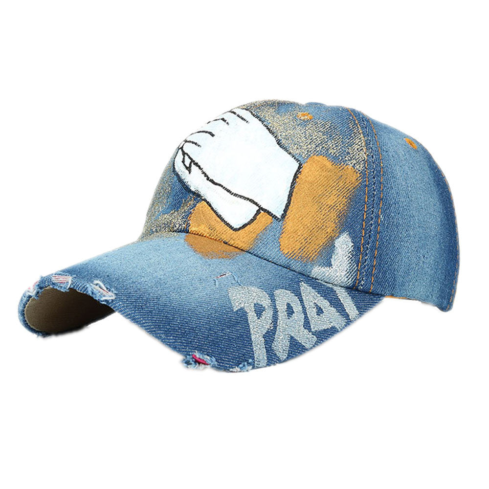 Baseball Cap Hand Painted Denim AdjustableSnapback