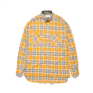 flannel Long-sleeved plaid oversized dress shirt red yellow