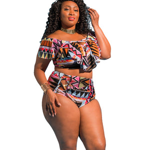 Plus Size Swimwear  Offer Shoulder