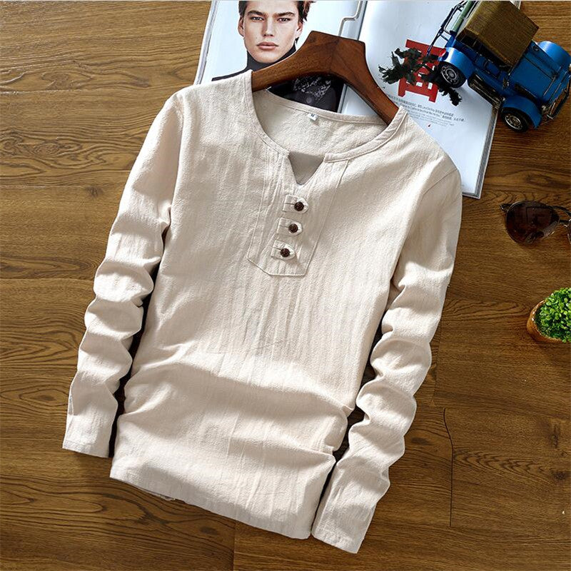 Men's Long Sleeve Casual Shirt High Quality Cotton Linen Summer Comfort