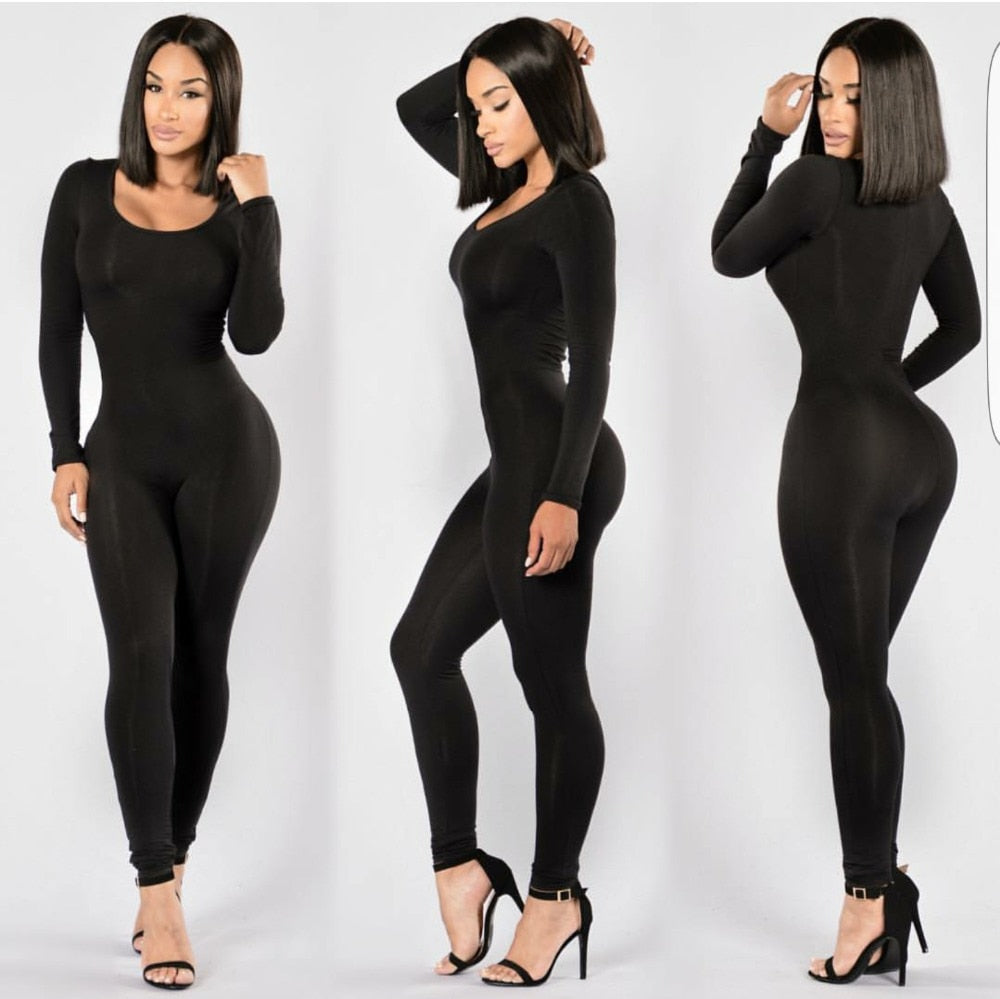 Long Sleeve O-Neck Long Pants Women Jumpsuits