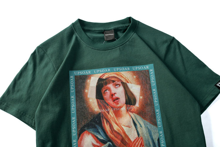 Hip Hop Casual Virgin Mary  T-Shirts