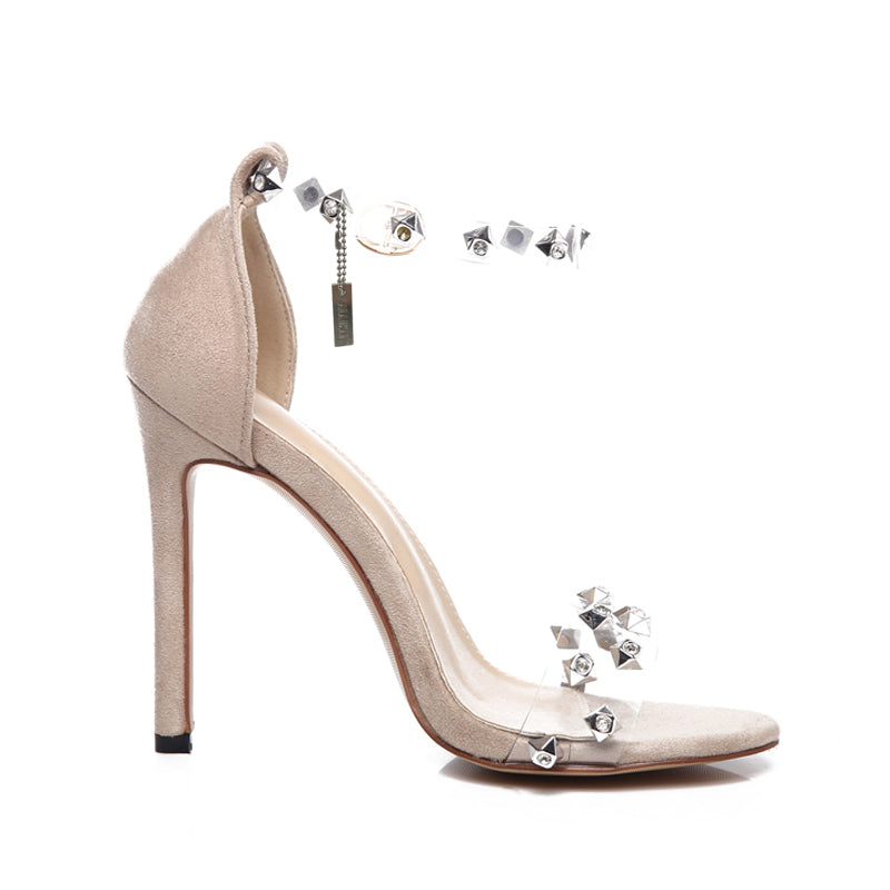 Transparent Rivet Flock  High Heels