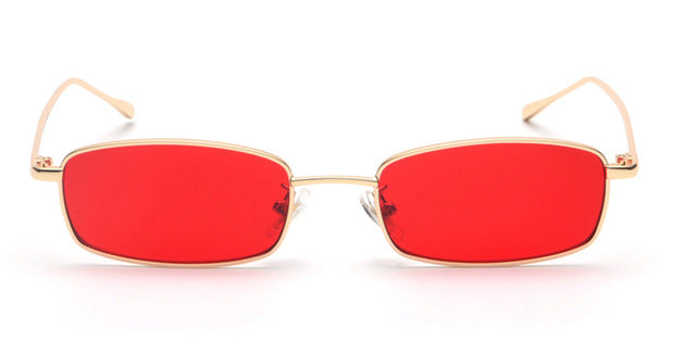 Peekaboo small rectangle sunglasses men red lens yellow  metal frame clear lens