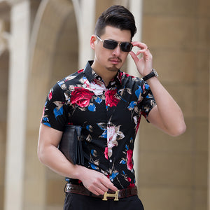 Short Sleeve Fashion Men Floral Shirts Slim Fit Plus Size