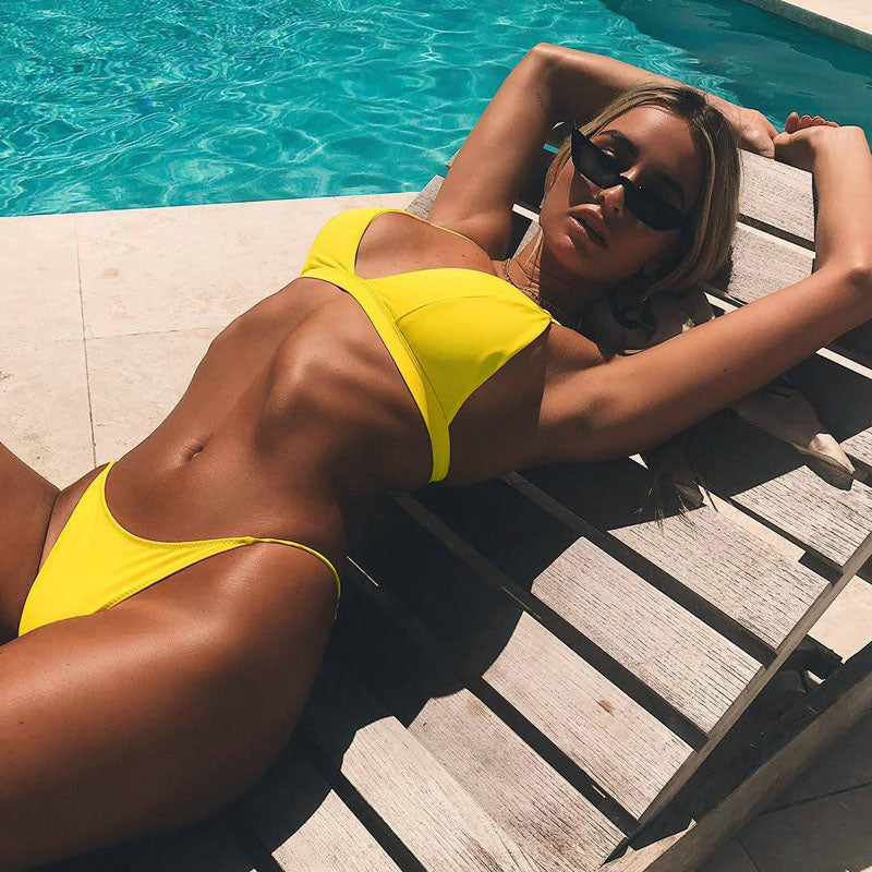 Two Piece Swimwear Low Waist Solid color