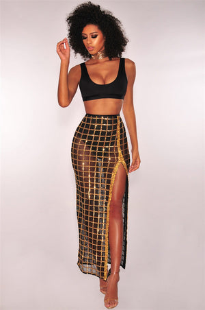 Two Piece Set Women Crop Tank Top Sequins High Slit skirt