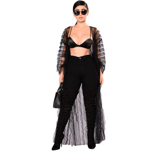 See-through  Sheer Mesh Solid Kimono Loose Outerwear