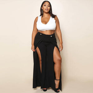 Sexy High Split Casual Plus Size High Waist Trousers
