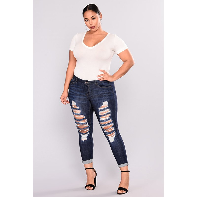 Madalynn Jeans Denim  High Waist Ripped