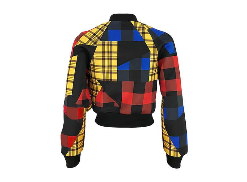 kim's Plaid Patchwork Bomber Jacket