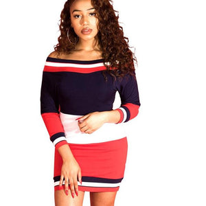 slash neck mini dress women