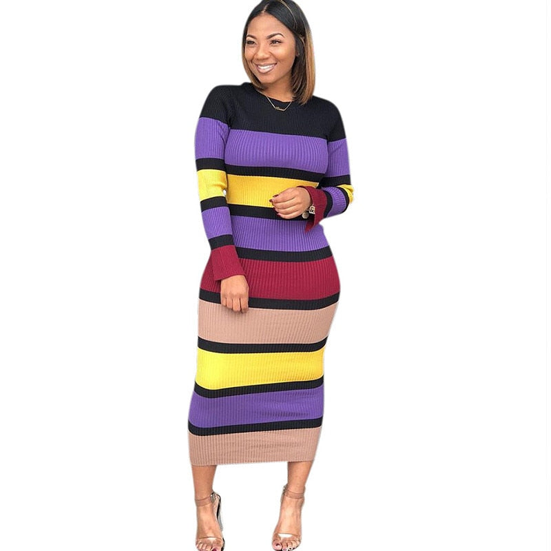 Rob Sheath striped  Midi Dress